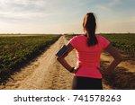 athletic woman preparing run on ... | Shutterstock . vector #741578263