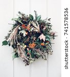 colorful winter holiday... | Shutterstock . vector #741578536