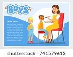 mother doing make up for child | Shutterstock .eps vector #741579613