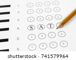 closeup of a multiple choice... | Shutterstock . vector #741579964