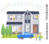 family 3 generations in a house ... | Shutterstock .eps vector #741581248
