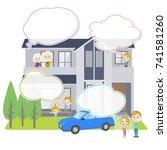 family 3 generations house... | Shutterstock .eps vector #741581260