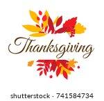 flat design style happy... | Shutterstock . vector #741584734