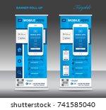 mobile apps roll up banner... | Shutterstock .eps vector #741585040