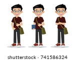 cartoon character  students in... | Shutterstock .eps vector #741586324