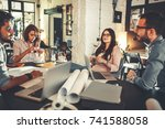 group of casual architects and... | Shutterstock . vector #741588058