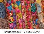colorful fabrics. otavalo...   Shutterstock . vector #741589690