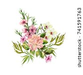 watercolor spring bouquet on a... | Shutterstock . vector #741591763