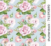 roses pattern.watercolor | Shutterstock . vector #741593890
