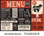 steak menu for restaurant and... | Shutterstock .eps vector #741601819