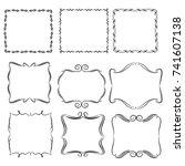set of vector vintage frames on ... | Shutterstock .eps vector #741607138