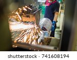 Small photo of Seam welding and roll weld selective focus and blurry have noise