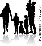 vector silhouette of family. | Shutterstock .eps vector #741611479