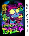 halloween party vector poster... | Shutterstock .eps vector #741613588