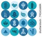 diwali. indian festival icons.... | Shutterstock .eps vector #741616684