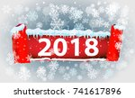 2018 new year on ice frosted... | Shutterstock .eps vector #741617896