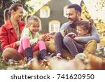 little girls have fun with... | Shutterstock . vector #741620950