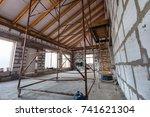 ladder  parts of scaffolding... | Shutterstock . vector #741621304