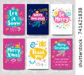 merry christmas happy new year... | Shutterstock .eps vector #741621838