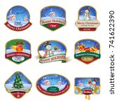 christmas labels with lovely... | Shutterstock .eps vector #741622390