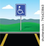 disabled or handicapped parking ... | Shutterstock .eps vector #741623863