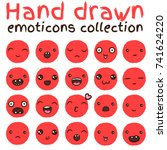 hand drawn vector emoticons... | Shutterstock .eps vector #741624220