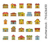 cartoon house icons set.... | Shutterstock .eps vector #741626650