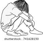 vector art drawing of sad... | Shutterstock .eps vector #741628150