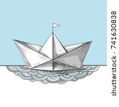 cute hand sketched paper ship... | Shutterstock .eps vector #741630838