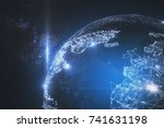 abstract polygonal globe on... | Shutterstock . vector #741631198