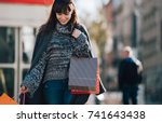 urban scene  woman with... | Shutterstock . vector #741643438
