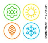 four seasons icon set.... | Shutterstock .eps vector #741646984