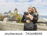 a couple in front of chateau... | Shutterstock . vector #741648040