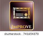 golden emblem or badge with...   Shutterstock .eps vector #741654370