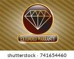 golden emblem with diamond... | Shutterstock .eps vector #741654460