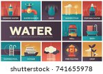 water concept   set of flat... | Shutterstock .eps vector #741655978