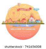 welcome to carnival   modern... | Shutterstock .eps vector #741656008
