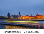 view of motion blurred lights... | Shutterstock . vector #741660283