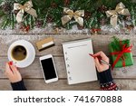 christmas wish list writing.... | Shutterstock . vector #741670888