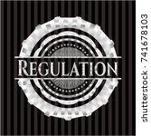 regulation silvery emblem | Shutterstock .eps vector #741678103