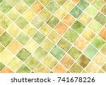 watercolor rhombus pattern   Shutterstock . vector #741678226