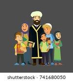 mulla with children.vector...   Shutterstock .eps vector #741680050