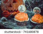 halloween cupcakes | Shutterstock . vector #741680878