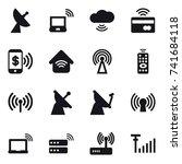 16 vector icon set   satellite... | Shutterstock .eps vector #741684118