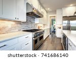 amazing kitchen design with... | Shutterstock . vector #741686140