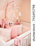 crib in the children's room  | Shutterstock . vector #741691798