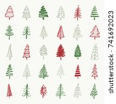 christmas trees hand drawn...