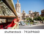 young happy woman tourist in... | Shutterstock . vector #741694660