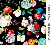 seamless floral background... | Shutterstock .eps vector #741695050