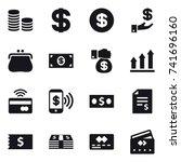 16 vector icon set   coin stack ... | Shutterstock .eps vector #741696160